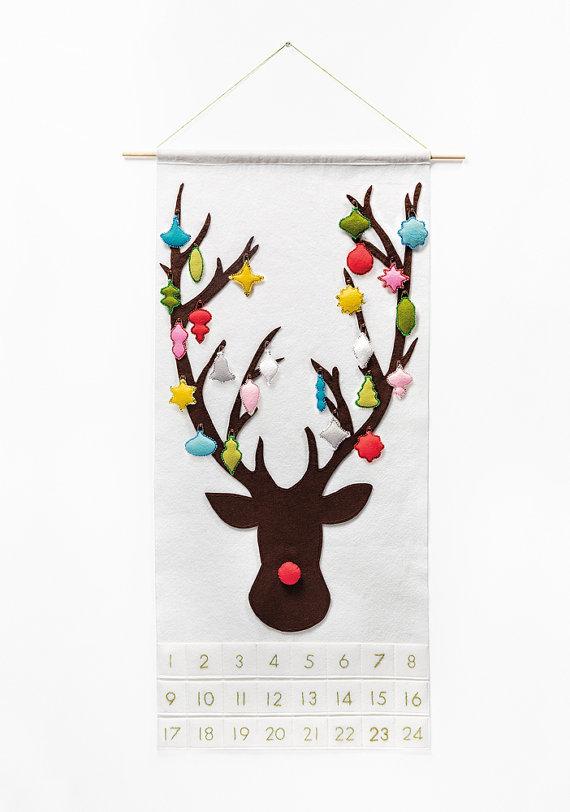 Wool Felt Reindeer Advent Calendar