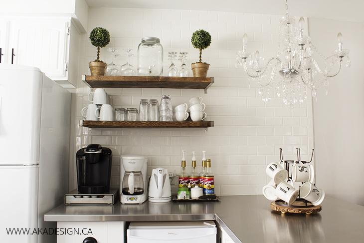 Coffee-bar-chandelier-white-mugs-monogram-bottle-drying-rack